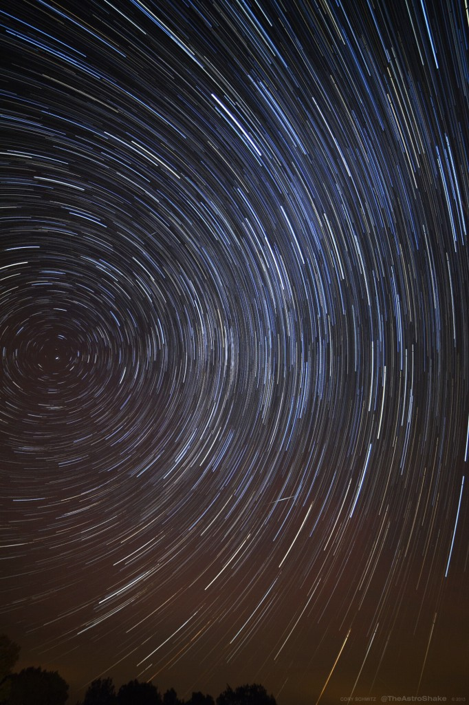 Stars trail more when they are AWAY from the celestial pole (the point of rotation)