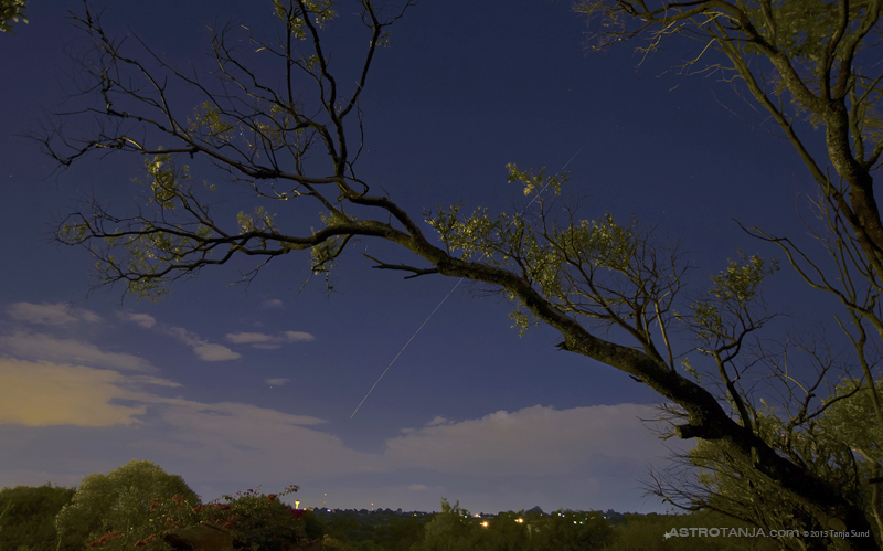 The ISS photographed through trees