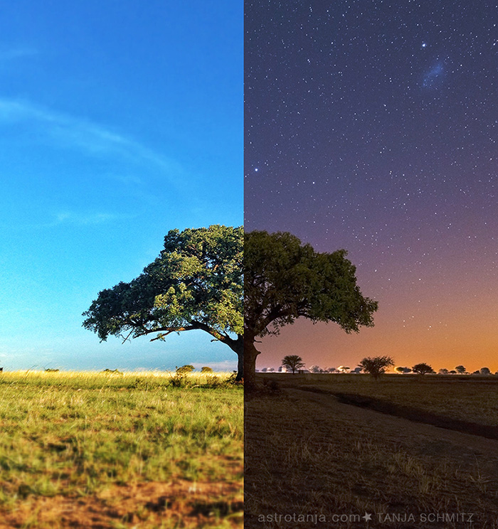 Day and night photo composite