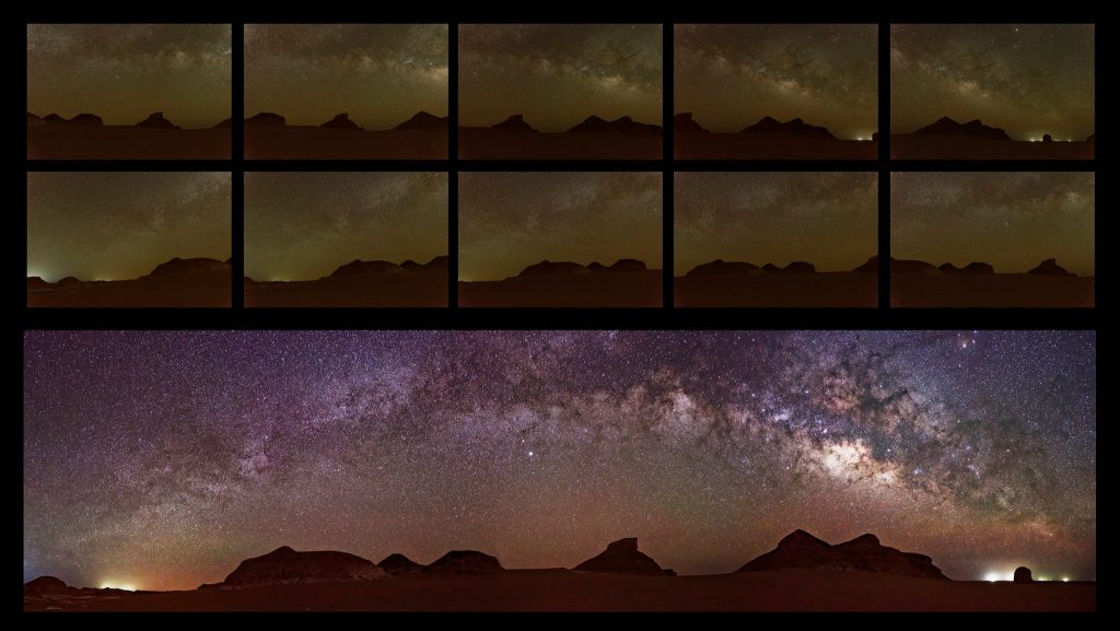 Ahmed Saleh‎, Milky Way panorama before and after